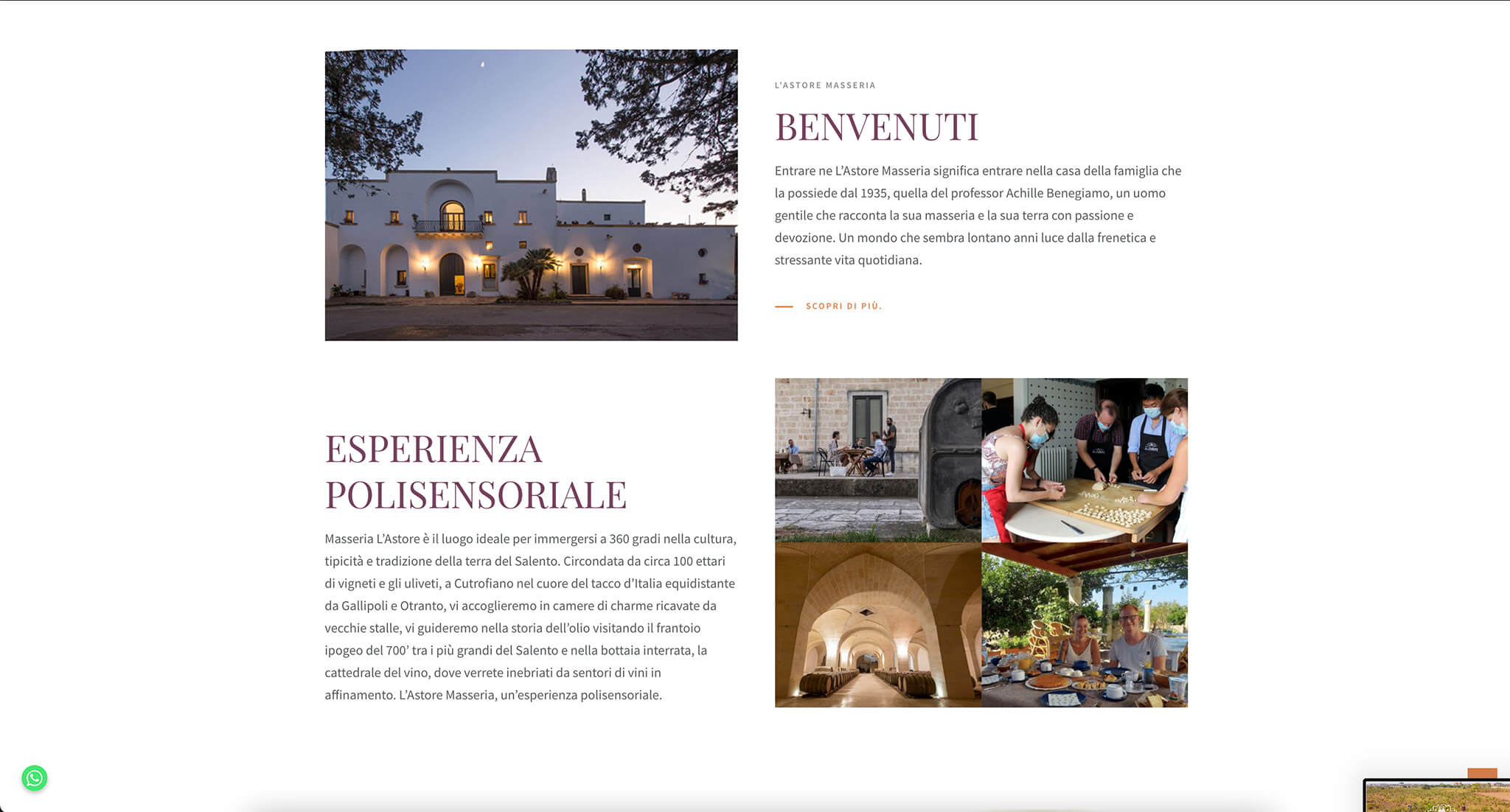 L'Astore Masseria Website Overview